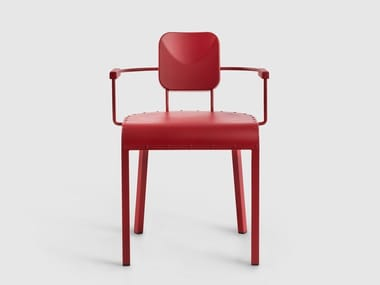 Aluminium chair with armrests ROCK | Chair with armrests