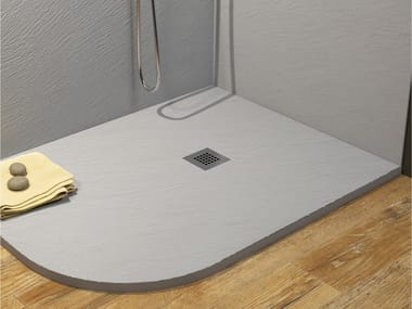 Piatto doccia angolare incassato in materiale composito ROCKY CLASSIC | Piatto doccia angolare