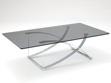 Rectangular Glass And Steel Coffee Table ROLF BENZ 1150 | Rectangular Coffee  Table