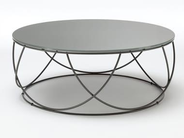 Tavolino basso rotondo in acciaio e vetro ROLF BENZ 8770 | Tavolino basso
