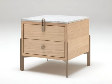 Square bedside table with drawers ROLF BENZ 914 | Oak bedside table