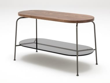 Oval wooden high side table ROLF BENZ 947 | Oval coffee table
