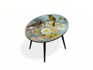 Oval beech wood and HPL coffee table ROMANTIC BIRDS L