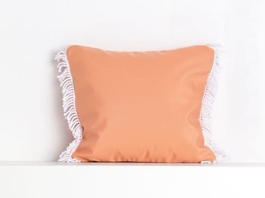 Square outdoor acrylic cushion ROMY CORAIL | Square cushion