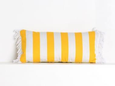Striped rectangular outdoor acrylic cushion ROMY RAYE JAUNE OR | Rectangular cushion