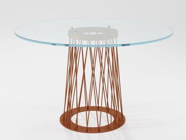 Mesa de jantar redonda de cristal RONCISVALLE | Mesa de cristal