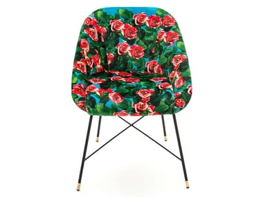 Upholstered fabric chair with armrests ROSES | Chair