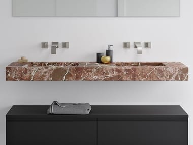 Double wall-mounted washbasin with integrated countertop ROSSO LEVANTO | Double washbasin