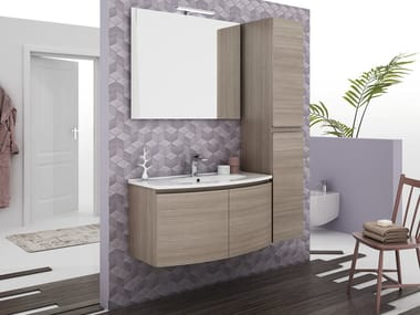 LEGNOBAGNO. Wall Mounted Vanity Unit With Doors ROUND 04