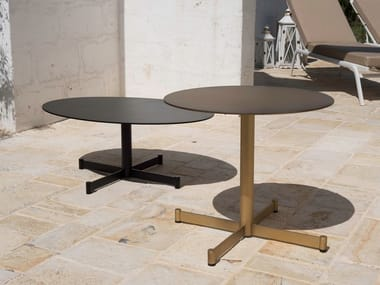 Round aluminium garden side table TEODORA | Round coffee table