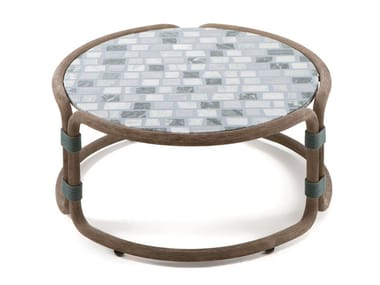 Round coffee table with marble and cement top ROTIN | Round coffee table