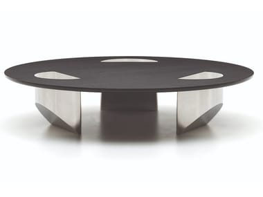 Low round glass coffee table WEDGE | Round coffee table