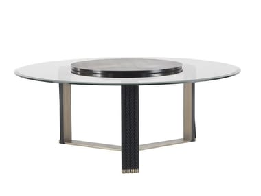 Round glass dining table with Lazy Susan GLASGOW | Round table