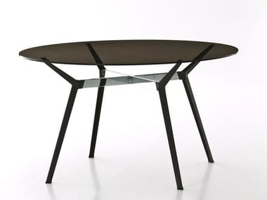 Round crystal and steel table PYLON | Round table