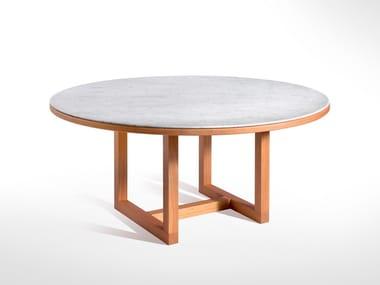 Tavolo rotondo in marmo e legno SPAN | Tavolo rotondo