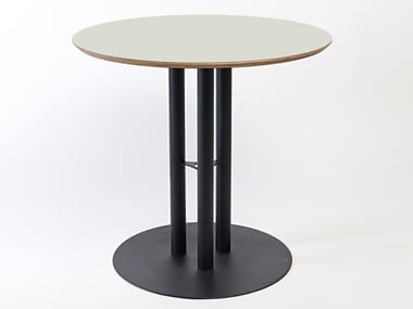 Lacquered round steel and wood table CHAILLOT | Round table