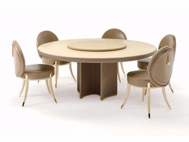 Round marble contract table with Lazy Susan NOIR | Round table