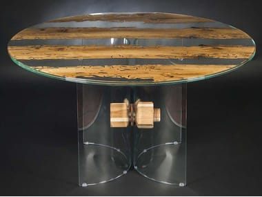 Round wood and glass table VENEZIA | Round table