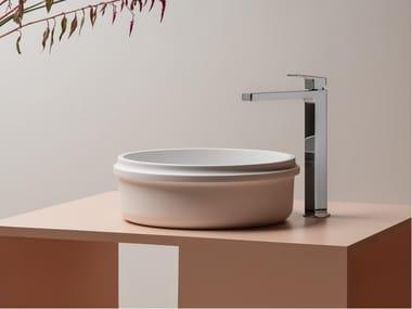 Countertop round single Cristalplant® washbasin RISE | Round washbasin