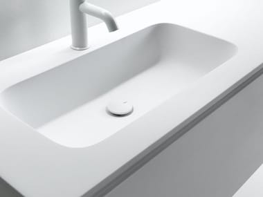 Ceramilux® washbasin with integrated countertop ROUNDLUX