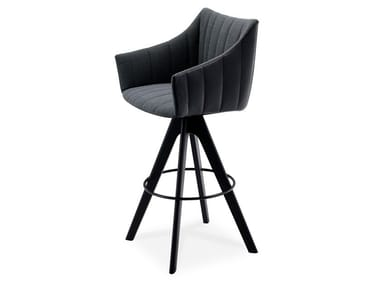 High fabric stool with armrests RUBIE BAR ARMCHAIR HIGH