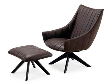 Trestle-based leather armchair with armrests RUBIE LOUNGE CHAIR