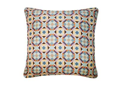 Square silk cushion RUBIK PRINTED SILK WARM TEAL