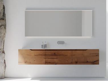 Single wall-mounted oak vanity unit with drawers RUSTECH RT01