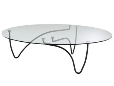 Low oval tempered glass coffee table RYTHME