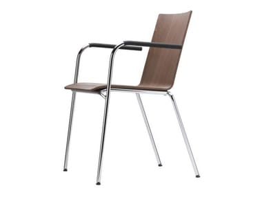 Stackable plywood chair with armrests S 162 F