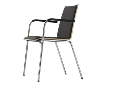 Upholstered stackable chair with armrests S 162 PF