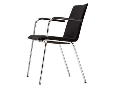 Cadeira estofada empilhável com braços S 162 PVF