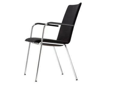 Upholstered stackable chair with armrests S 164 PVF