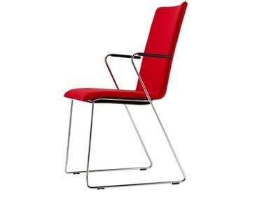 Cadeira trenó estofada com braços S 184 PVFST