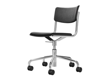 Swivel upholstered chair with castors S 43 PVDR | Chair