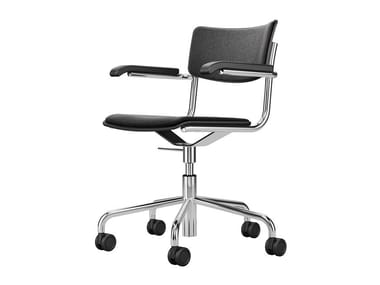 Swivel upholstered chair with armrests and with castors S 43 PVFDR | Chair
