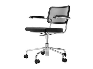 Chaise pivotante rembourrée en résille à roulettes S 64 SPVNDR | Chaise