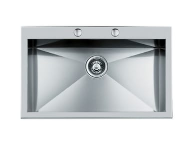 Single flush-mounted stainless steel sink S/QUADRA rag.FT B/RUB.INOX