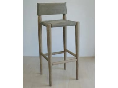 High nabuk barstool with back S1 | Nabuk stool