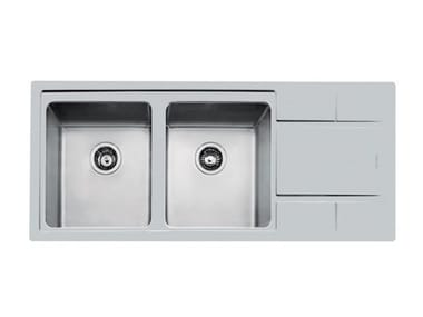 Flush-mounted stainless steel sink with drainer S4000 2VDX/SX 34+SC FT TPR