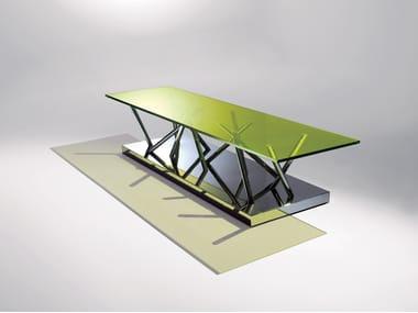Rectangular crystal and steel coffee table SA01