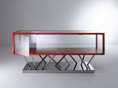 Glass and steel sideboard with doors SA02