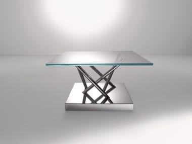 Square crystal and steel coffee table SA05