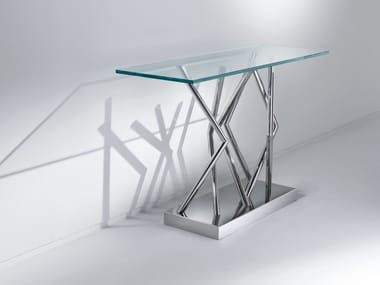 Rectangular crystal and steel console table SA06