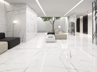 Porcelain wall/floor tiles with marble effect SAHARA BIANCO
