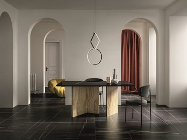 Porcelain stoneware wall/floor tiles with marble effect SAHARA NOIR