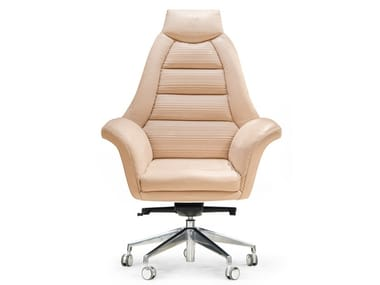 Swivel leather executive chair with castors SALAMANCA | High-back executive chair