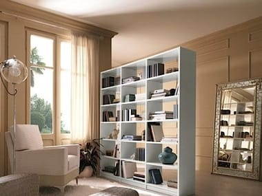 Freestanding double-sided bookcase SALIERI | Lacquered bookcase