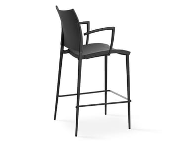 High leather stool with armrests SAND | Barstool