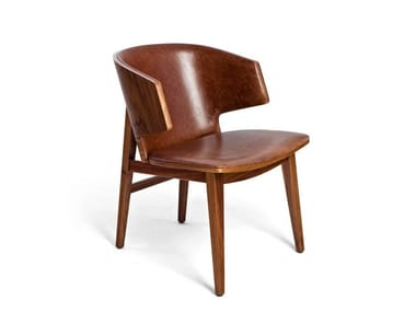 Leather chair with armrests SARR | Leather chair